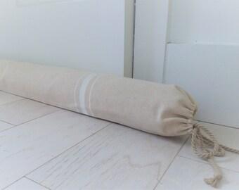 Door draft stopper / White Window Draft Stopper Cover / Grain sack draft stopper / Canvas Draft Snake / rustic draft stopper
