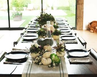 Fall Table Runner Farmhouse, Burlap Table Runner, Rustic Fall Decor, Custom Sizes, Featured Table Setting on Jenni Kayne