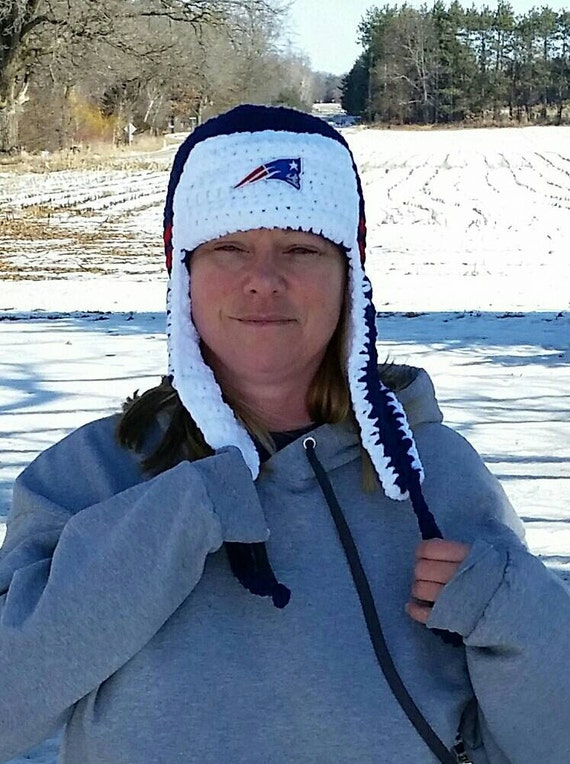 New England Patriots Fuzzy Warm Lumberjack Hat Soft Patriots  b11252d47043