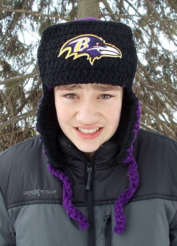 Baltimore Ravens Fuzzy Warm Lumberjack Bomber Earflap Hat  cd42895d2a58