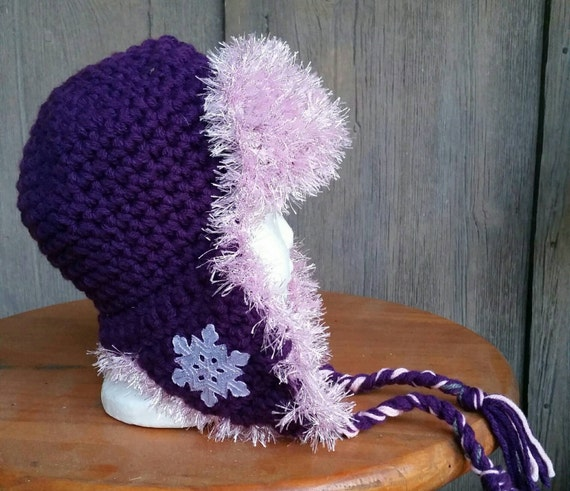 1784a60bac2 Purple and pink girl s hat girls knit hat snowflake hat