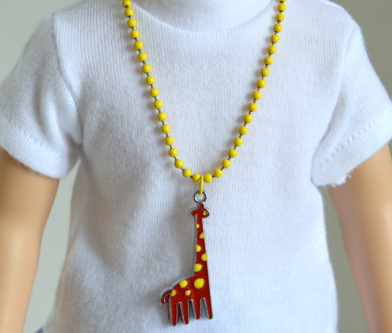 14.5 Doll Jewelry Magnet Clasp Closure 14.5 Doll Necklace 14.5 Giraffe Charm Necklace 14.5 Doll Yellow Ball Chain Necklace