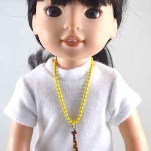 Pink Plastic Chain Link Doll Necklace with Rhinestone Gift Charm 18 Inch Doll Necklace 18 Doll Necklace Handmade Magnet Clasp Closure