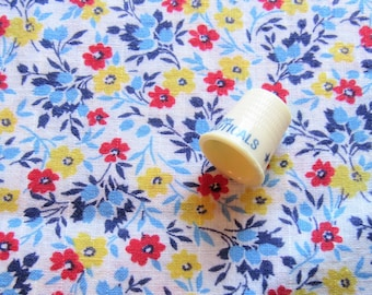 red, blue and yellow floral print vintage cotton fabric -- 33 wide by 1 3/8 yard