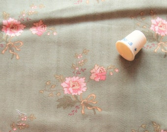 pink on soft green floral print vintage cotton fabric by moda-- 44 wide by 1 yard