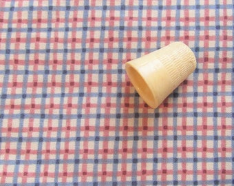 red and blue check/plaid print vintage cotton fabric -- 43 wide by 1 yard