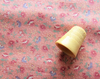 salmon pink floral print vintage cotton fabric -- 44 wide by the yard