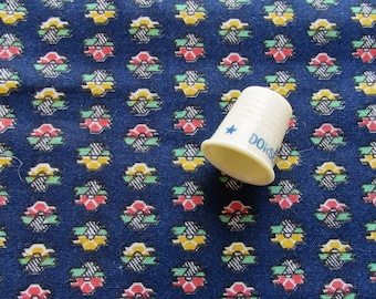 tiny abstract flowers on navy floral print vintage cotton fabric -- 35 wide by 1 1/8 yard