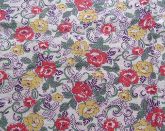 vintage FULL unopened feed sack fabric -- red and yellow floral print