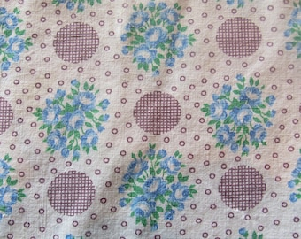 Vintage Feed Sack Fabric    Turquoise Check Tablecloth