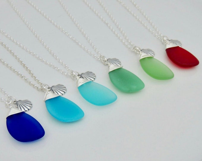 Featured listing image: Sterling Wrapped Sea Glass Necklace