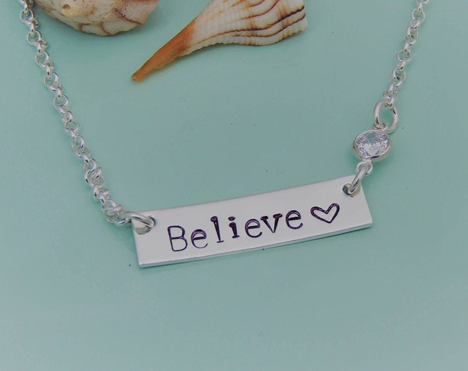 Custom Believe Necklace w/Crystal