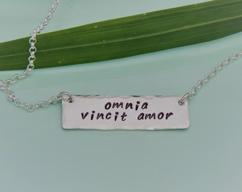 NEW! Omnia Vincit Amor Necklace - Love Conquers All Necklace - Custom Bar Necklace - Love Necklace - Sterling Silver