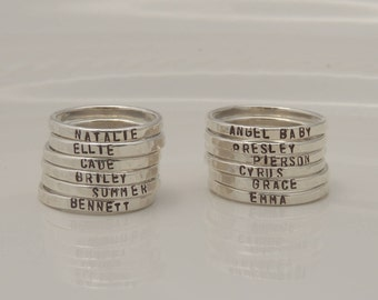 Custom Personalized Hammered Rings