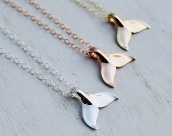 Whale Tail Necklace - Sterling Silver / Yellow Gold / Rose Gold