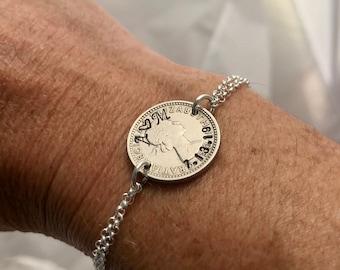 Custom Lucky Sixpence Coin Bracelet