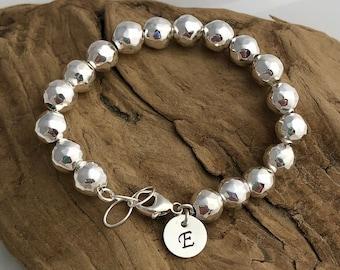 Sterling Silver .925 Hammered Ball Bracelet