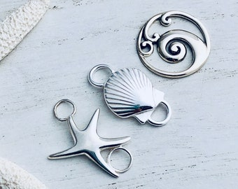 Sterling Silver Starfish Seashell Wave Clasp