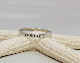 Sterling Silver Stacking Name Rings