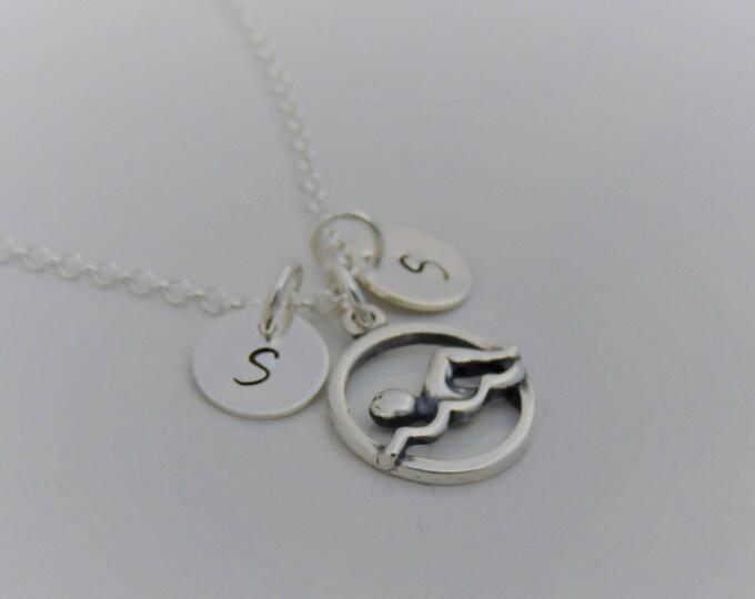 Custom Swim Initial Necklace