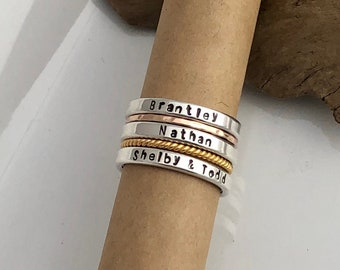 Sterling Silver Name Stacking Rings