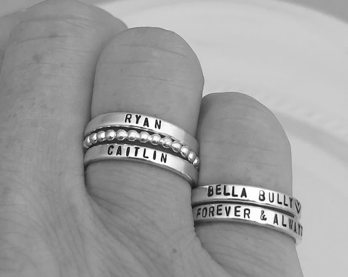 Featured listing image: Sterling Silver Name Rings