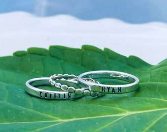 Personalized Sterling Silver Name Rings