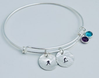 Initial Bangle Bracelet - Birthstone Bracelet