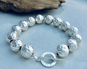 .925 Sterling Silver Hammered Ball Bracelet