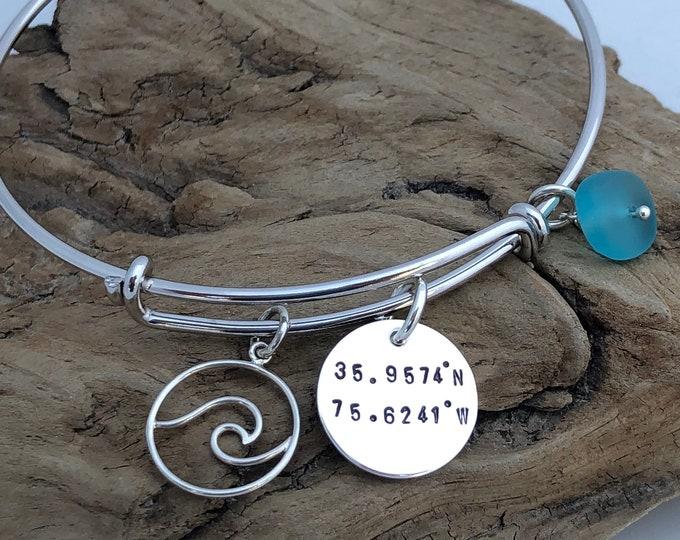 Custom Coordinates Wave Bracelet