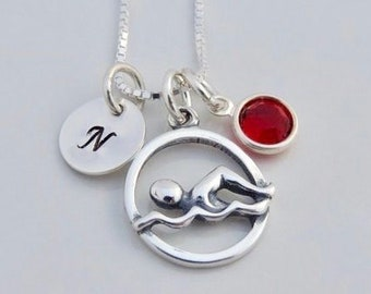 Custom Swim Initial Necklace - Swimmer Necklace - Swim Gift - Swim Charm - Sterling Silver - Hand Stamped