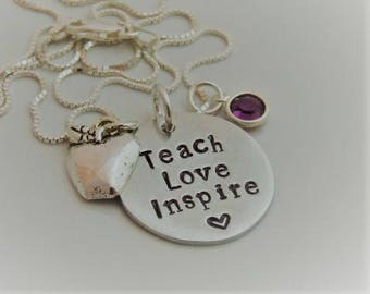 Teach Love Inspire - Teacher / Graduation Necklace - Hand Stamped Pendant Necklace - Apple Charm - Teacher Gift - Key Chain - Inspirational