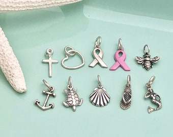 Sterling Silver Charms - Add On Charm - Cross, Heart, Silver Ribbon, Pink Ribbon, Bee, Anchor, Sea Turtle, Sea Shell, Flip Flop, Mermaid