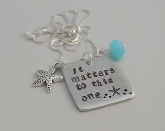Custom Teacher Necklace / Key Chain - It matters to this one - Key Chain - Hand Stamped - Teacher Gift - Mother Gift - Gift Ideas