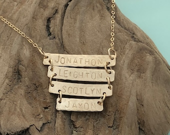 Personalized 2-3-4 Bar Necklace - Sterling Silver / Gold Filled