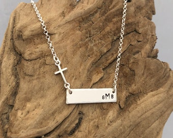 Monogram Cross Bar Necklace