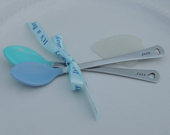 Custom Personalized Baby Spoons - Hand Stamped