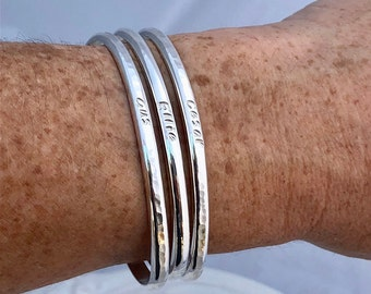 Engraved Personalized Cuff Bracelet - Sterling Silver
