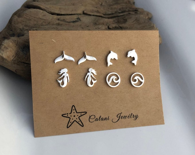 Featured listing image: Sterling Silver Stud Earrings - Whale Tail - Dolphin - Mermaid - Wave - Hedgehog - Dachshund - Whale-Owl - Cute Post Earrings - Gift for Her