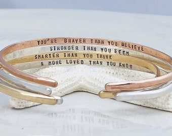 Engraved Personalized Cuff Bracelet - Sterling Silver - Yellow Gold - Rose Gold