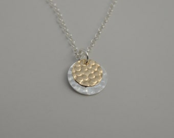 Mixed Metal Bubble Pendant Necklace - Hammered - Sterling Silver - Gold