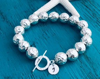 Sterling Silver .925 Hammered Ball Bracelet