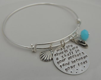 Expandable Bracelet - May you always have a shell in your pocket and sand between your toes