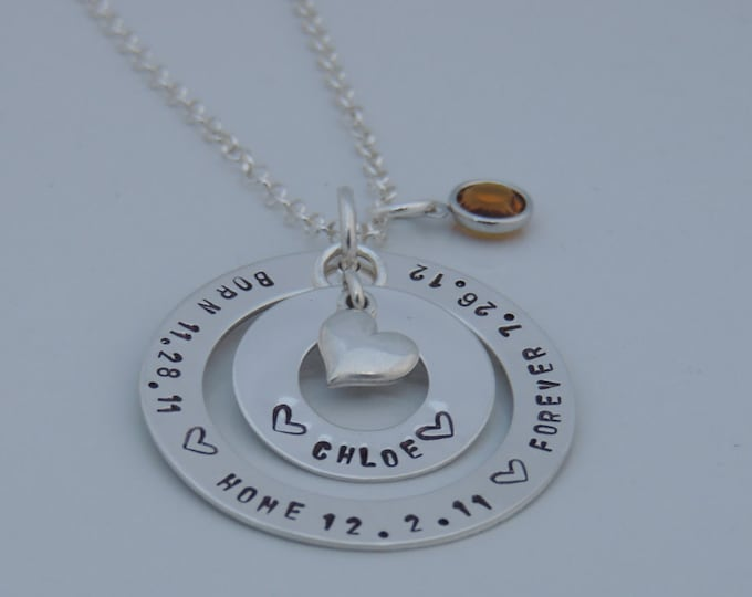Adoption Necklace - Mother Necklace - Personalized Adoption Necklace - Sterling Silver Necklace - Hand Stamped - Adoption Gift