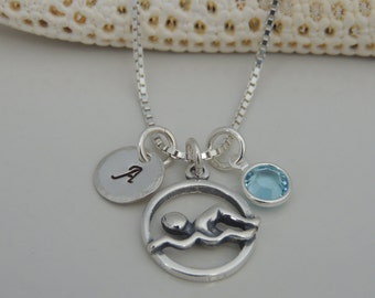 Sterling Swim Initial Necklace - Hand Stamped