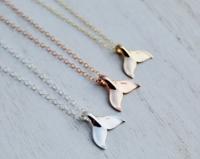 Featured listing image: Whale Tail Necklace - Sterling Silver / Yellow Gold / Rose Gold