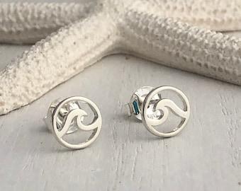 Sterling Wave Stud Earrings