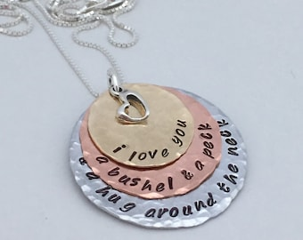 I love you a bushel and a peck and a hug around the neck Necklace - Hand Stamped