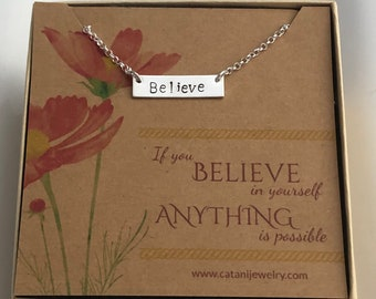 BELIEVE Bar Necklace with card