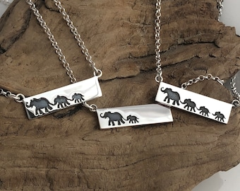 Elephant Mother and Baby Necklace